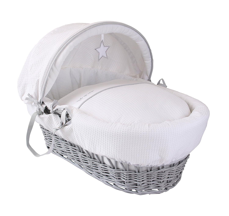Clair de Lune Silver Lining Grey Wicker Moses Basket inc. bedding, mattress & adjustable hood (White) CL5419G
