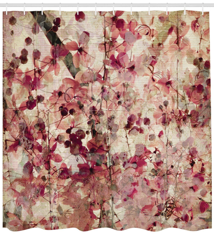 ABAKUHAUS Antico Tenda da Doccia Beige 175 x 200 cm Effetto del Grunge Fiori di Ciliegia sul Bambu a Coste Lo Sfondo Floreale Stampa di Tendenza su Tessuto