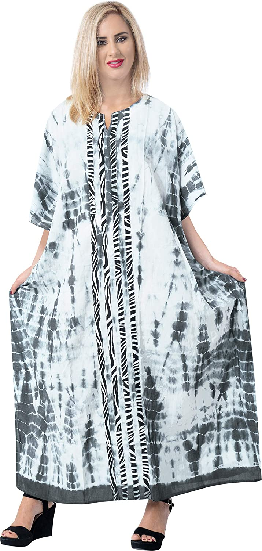 LA LEELA Donne Rayon Kaftan Tunica Solido Plain Kimono Libero Formato Lungo Maxi Partito Caftano Vestito per Loungewear Vacanze Pigiama Spiaggia di Tutti i Giorni Coprire i Vestiti N