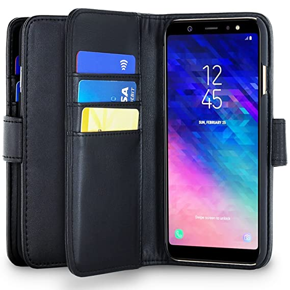 b7ccca3b54a4 Olixar for Samsung Galaxy A6 Plus Wallet Case - PU Faux Leather/Leather  Style Flip Cover - Credit Card Storage -Built in Kickstand - Wireless  Charging ...
