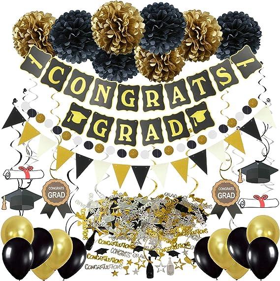Graduation Decorations - Black and Gold  Grad Party Decoration Supplies