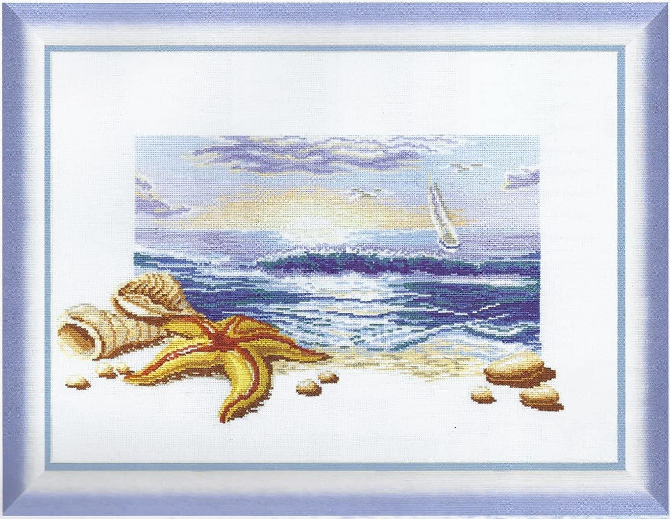 18.50x12.99 in Embroidery Counted cross stitch kit Charivna mit #210 Summer Sea dawn shells and starfish on the sand beach 47x33 cm
