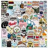 50pcs Funny Cute Reading Vinyl Stickers Waterproof for Laptop Water Bottles Scrapbooking Journaling Wall Classroom Bumper Car