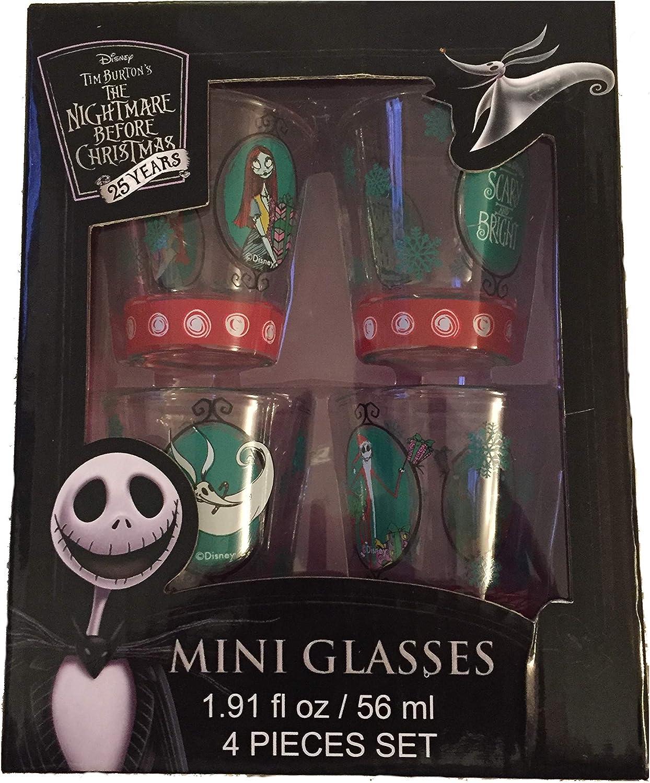 Disney Nightmare Before Christmas 4 Shot Glass Set Jack Skellington New in Box