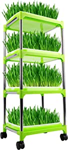 FiGoal 4 Layers Sprout Trays with Super Strength Plastic Shelf and Stainless-Steel Tubes Soil-Free Seeds Grower and Storage Trays for Garden Home Office Kitchen Use Zero Experience Needed