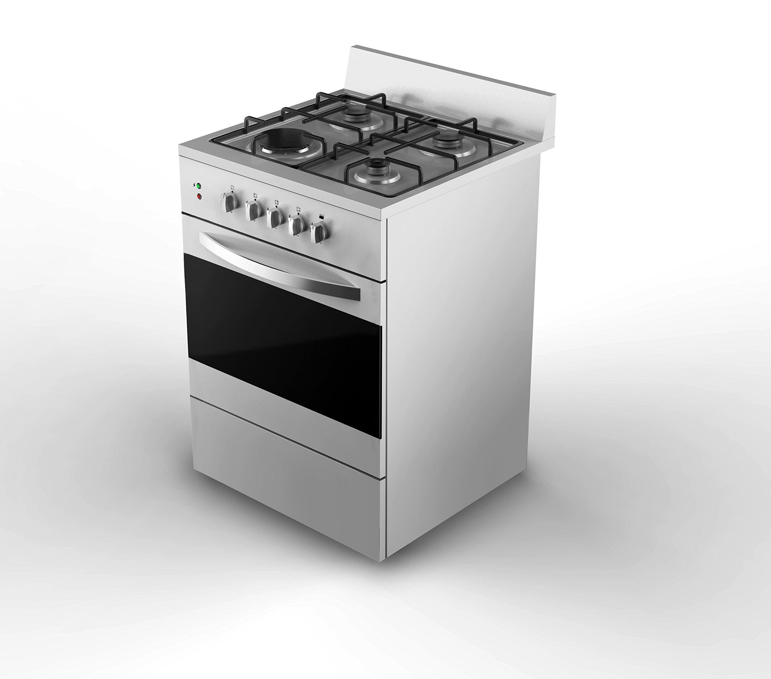 Empava 24'' Slide-In Free Standing Gas Range 4 Italy Sabaf Burner Cooktop W/ Single Oven EMPV-24GR02AT