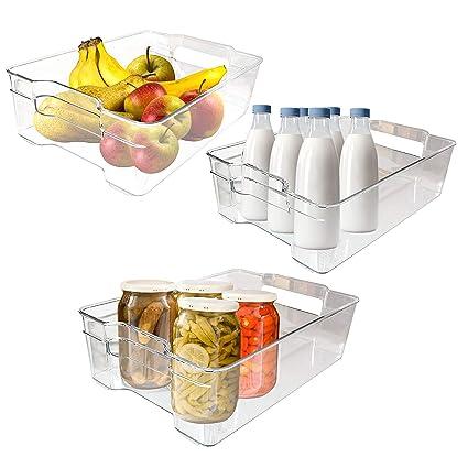 Kurtzy Pack 3 Bandejas Organizar la Cocina - Recipientes Apilables para refrigerador con Asas Incorporadas -