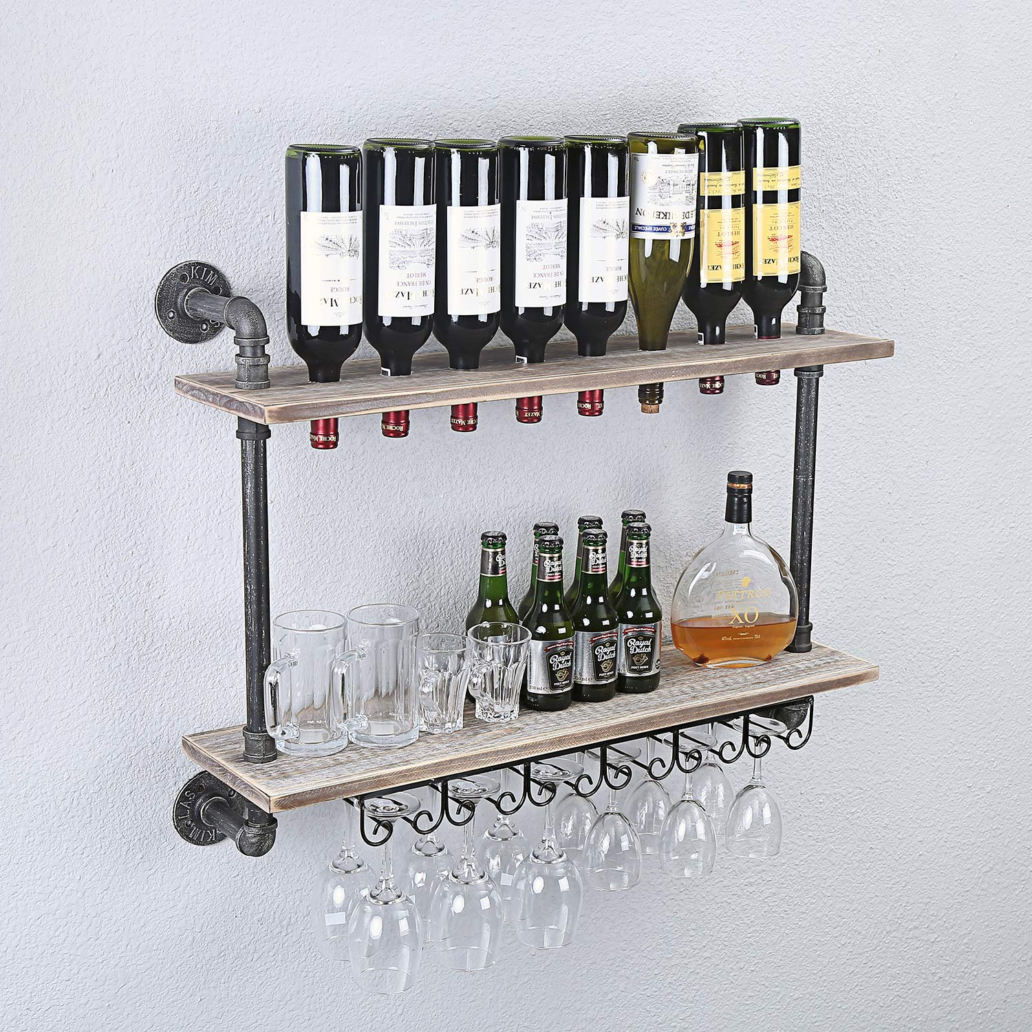 WGX Design For You Industrial Rustic Wall Mounted Wine Racks with Glass Holder Pipe Hanging Wine Rack,2-Tiers Wood Shelf Floating Shelves,Home Room Living Room Kitchen Decor Display Rack (32inch) by WGX Design For You