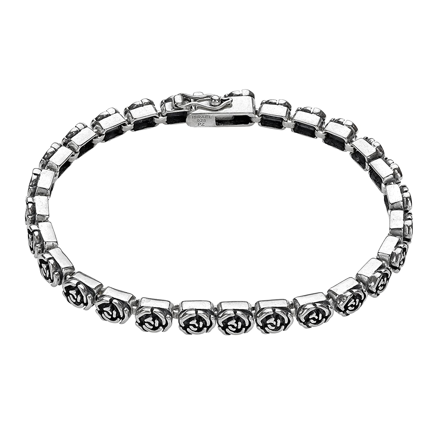 ♥925 Sterling Silver Rose Design Tennis Bracelet by Paz Creations Fine Jewelry, Made in Israel