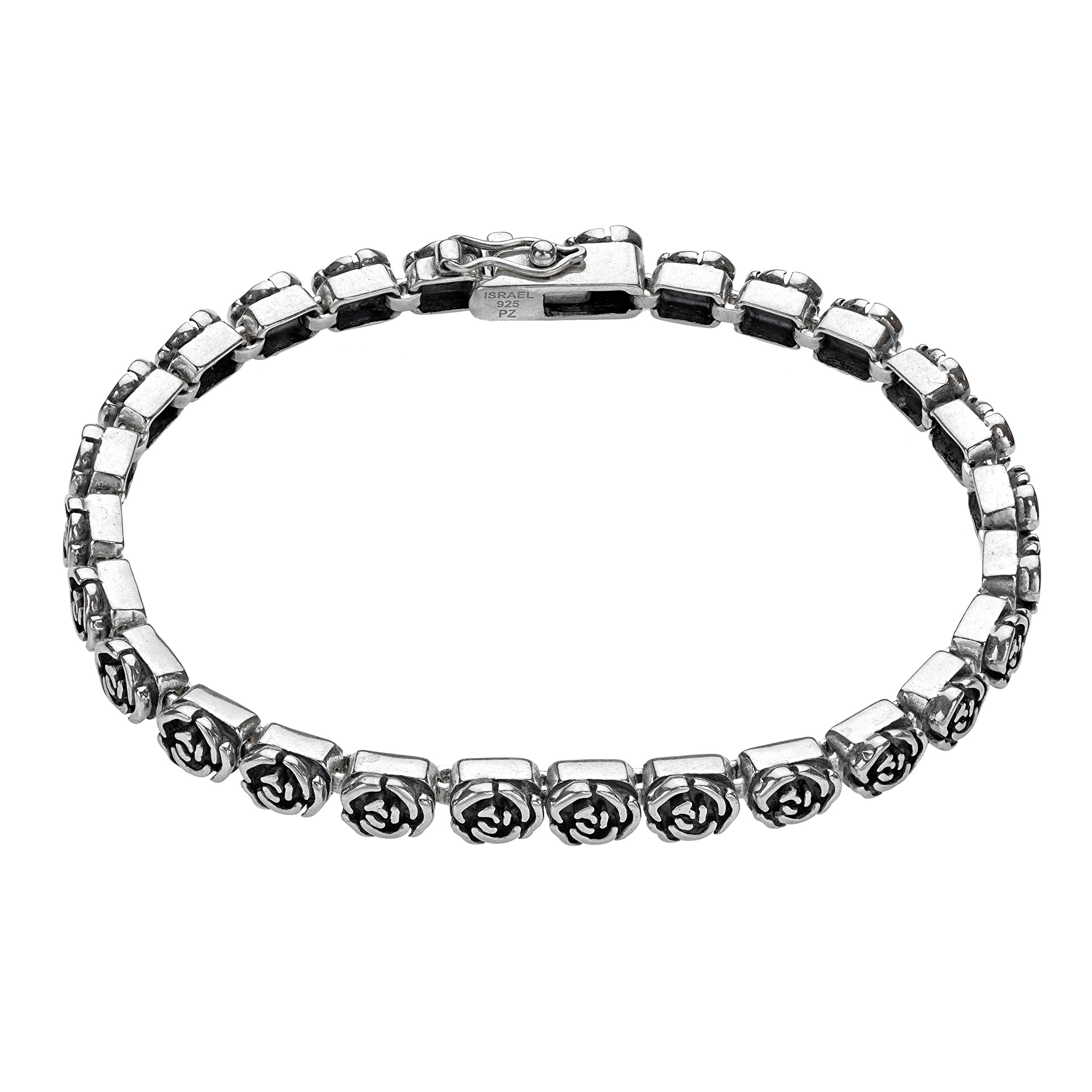 Paz Creations ♥925 Sterling Silver Rose Design Tennis Bracelet, Made in Israel (8)