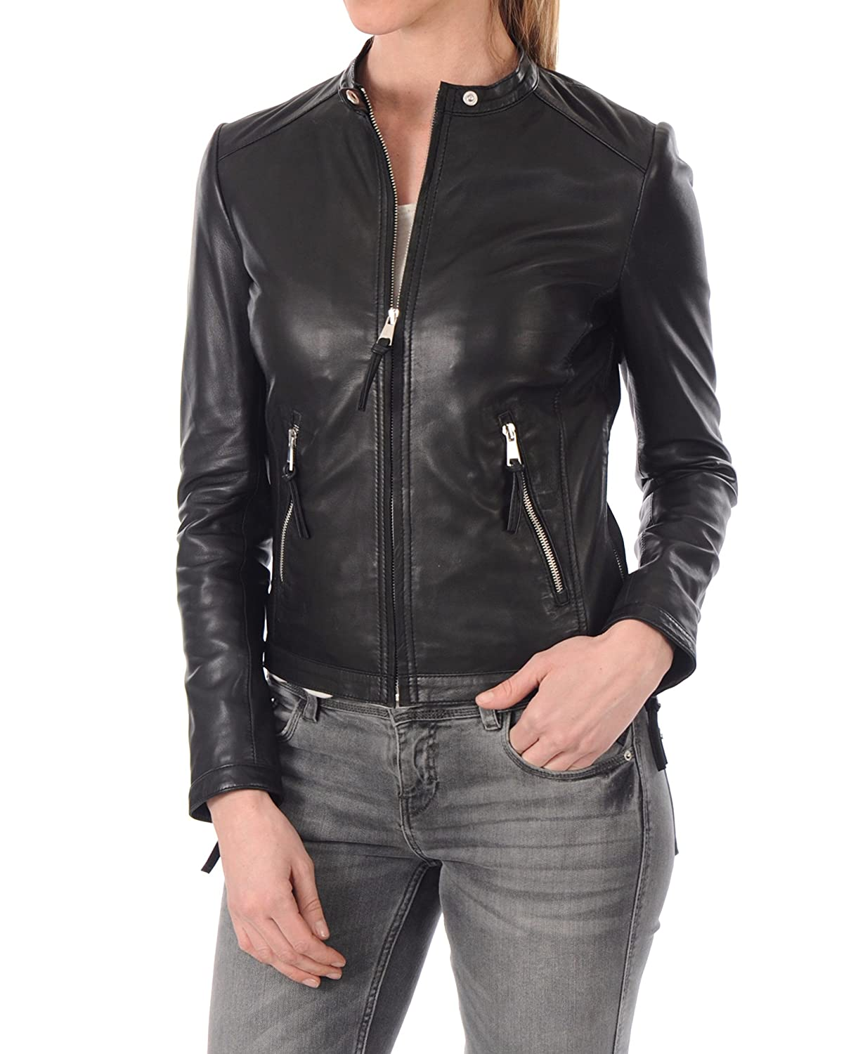 Black17rc DOLLY LAMB 100% Leather Jacket for Women  Round Collar, Slim Fit & Quilted  Moto, Bomber, Biker Winter Casual Wear