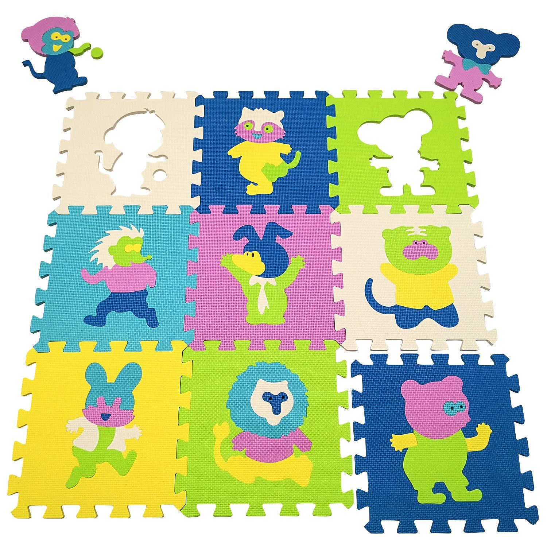Animales AL 30*30*1cm Suelo de Goma EVA Suave qqpp Alfombra Puzzle para Ni/ños Bebe Infantil b18N QQP-51 18 Piezas