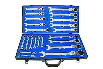 22tlg Gelenkratschen-Schlüssel Ringschlüssel 72 Zähne 6-32 mm 5° Ring-Ratschen