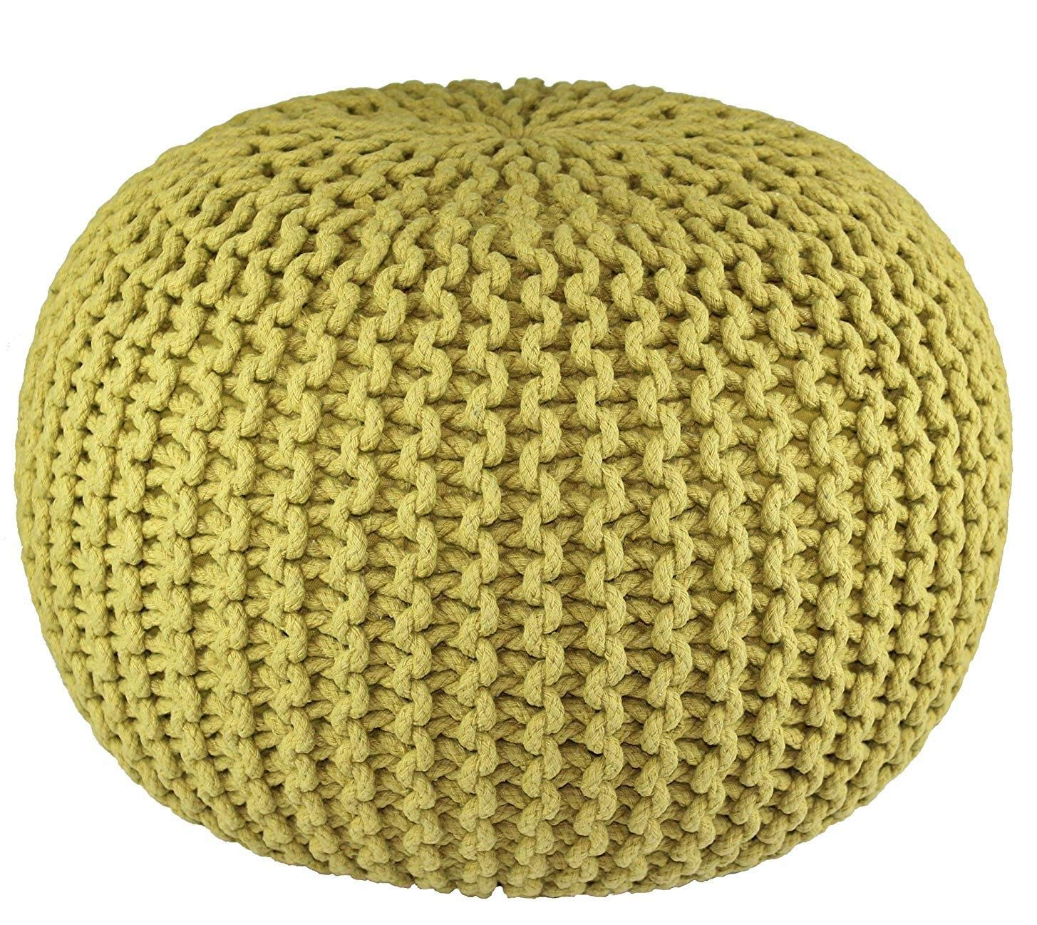Cotton Craft - Hand Knitted Cable Style Dori Pouf - Green - Floor Ottoman - 100% Cotton Braid Cord - Handmade & Hand Stitched - Truly one of a Kind Seating - 20 Dia x 14 High