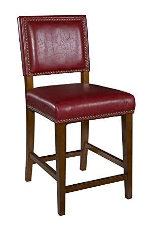 Linon Brook Bar Stool, Red