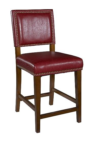 linon brook bar stool red - Amazon Bar Stools