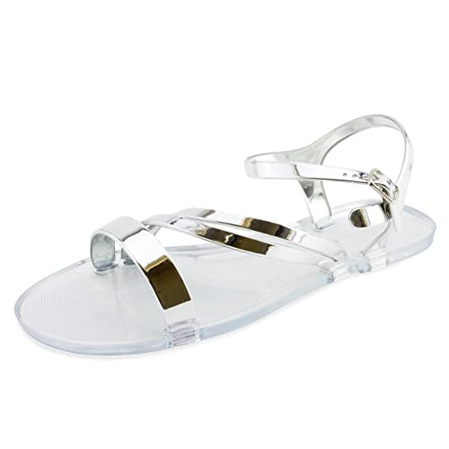 5fb9a0e3667e Link Womens Open Toe Jelly Ankle Strap Buckle Sandals Graciuos 15 (Clear  Silver