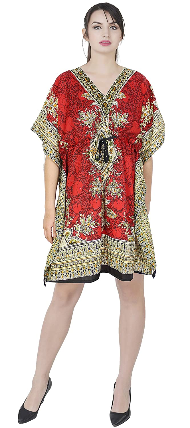 SKAVIJ Kaftan Dress for Womens Robe Beach Tunic Dress Cover Up Caftan Nightgown M-CS2