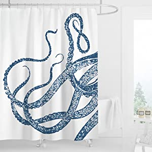 LIGHTINHOME Octopus Shower Curtain Blue Ocean Kraken Giant Tentacles Sea Creatures Mythical Nautical Animal Fabric Waterproof Bathroom Home Decor Set 72x72 Inch 12 Plastic Hooks