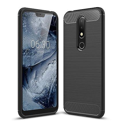 new concept 27e57 1e6b0 Fashionury Carbon Fiber Back Cover for Nokia 6.1 Plus (Carbon Black)
