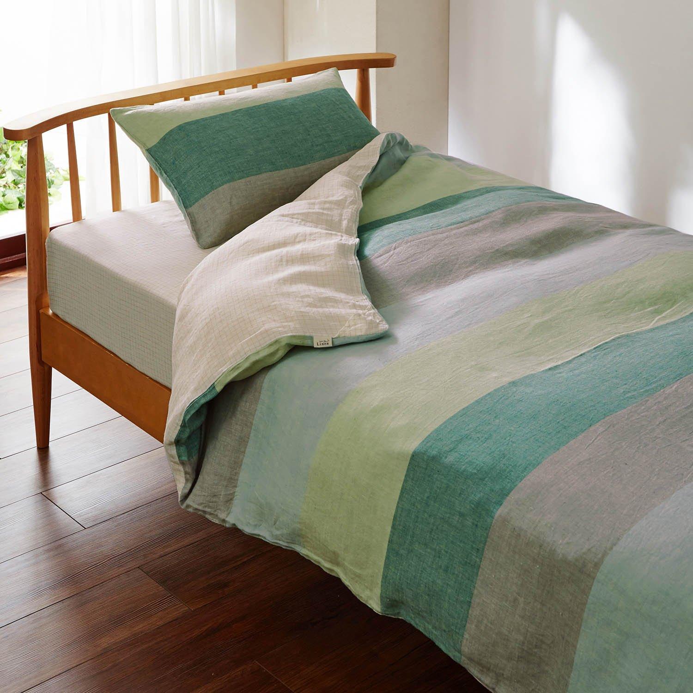 オーガニックリネンの布団カバー3点セット グリーン系 サイズ:洋式ダブル B07CNFZ2D2 サイズ:洋式ダブル|グリーン系 グリーン系 サイズ:洋式ダブル