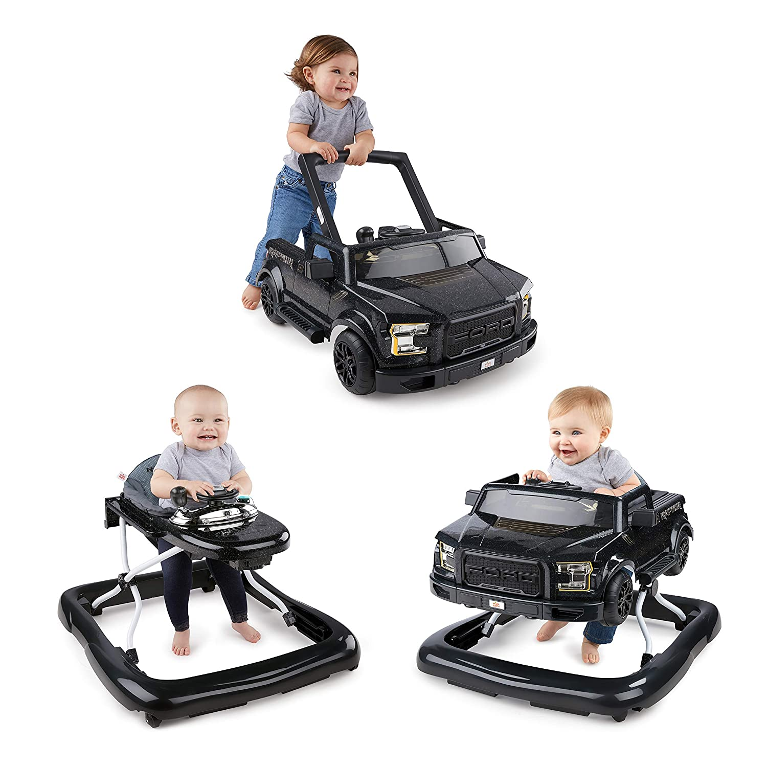 Bright Starts 3 Ways to Play Walker - Ford F-150 Raptor, Shadow Black, Ages 6 months +