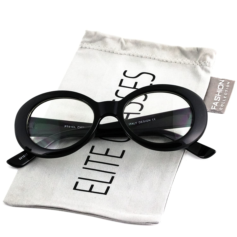e78f6c2d8b2 Amazon.com  Elite Vintage NIRVANA Kurt Cobain Round Sunglasses For Women  Men Eyewear (Black Clear