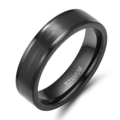 6mm Menu0027s Womenu0027s Black Titanium Ring Flat Brushed Pipe Cut Wedding Band  Size