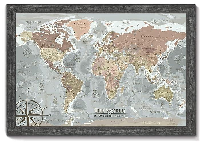 World Map Travel Pins.Amazon Com World Travel Map Pin Board The Columbus World Map
