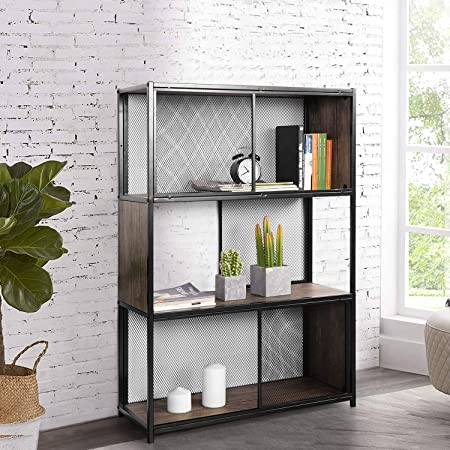 Yata Home Estantería de libros industrial, Mueble de Almacenamiento Vintage estantería de 3 niveles, estantes de almacenamiento en rack con marco de metal, Estantería de usos versátiles: Amazon.es: Hogar