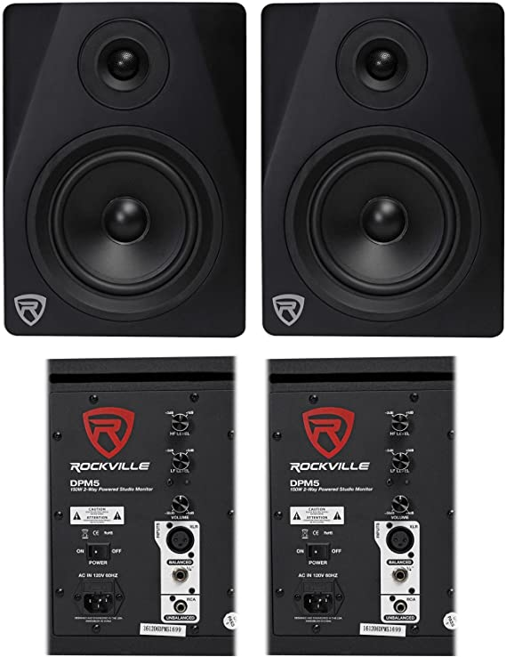 (2) Rockville DPM5B Dual Powered 5.25