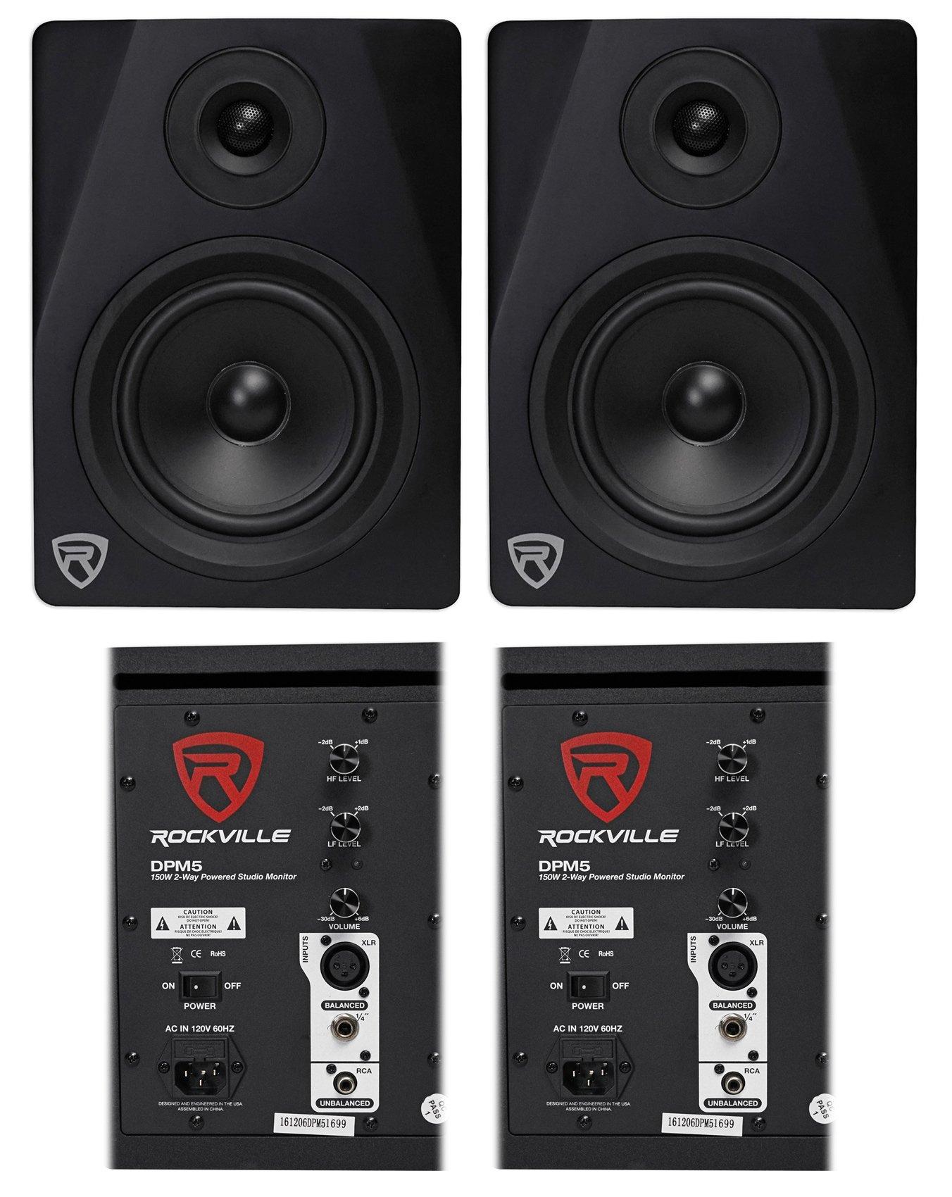 (2) Rockville DPM5B Dual Powered 5.25'' 300 Watt Active Studio Monitor Speakers