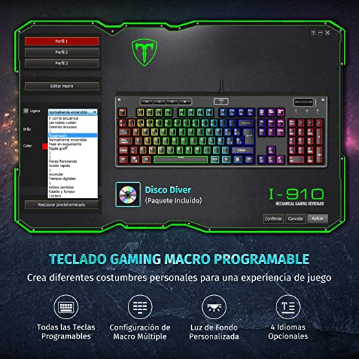 PICTEK Teclado Mecánico Gaming, [Gama Alta] Teclado Gaming Programable con Panel de Aleación de Aluminio, Interruptores Rojos Silenciosos, ...