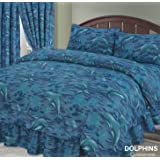 Single Bed Duvet / Quilt Cover Bedding Set, Dolphin, Sea / Ocean / Waves / Splash Blue, With Matching Pillowcase