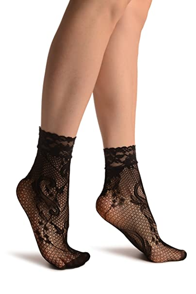 Gladiolus Flowers Black Lace Socks Ankle High - Socks - Negro Calcetines Talla unica (37