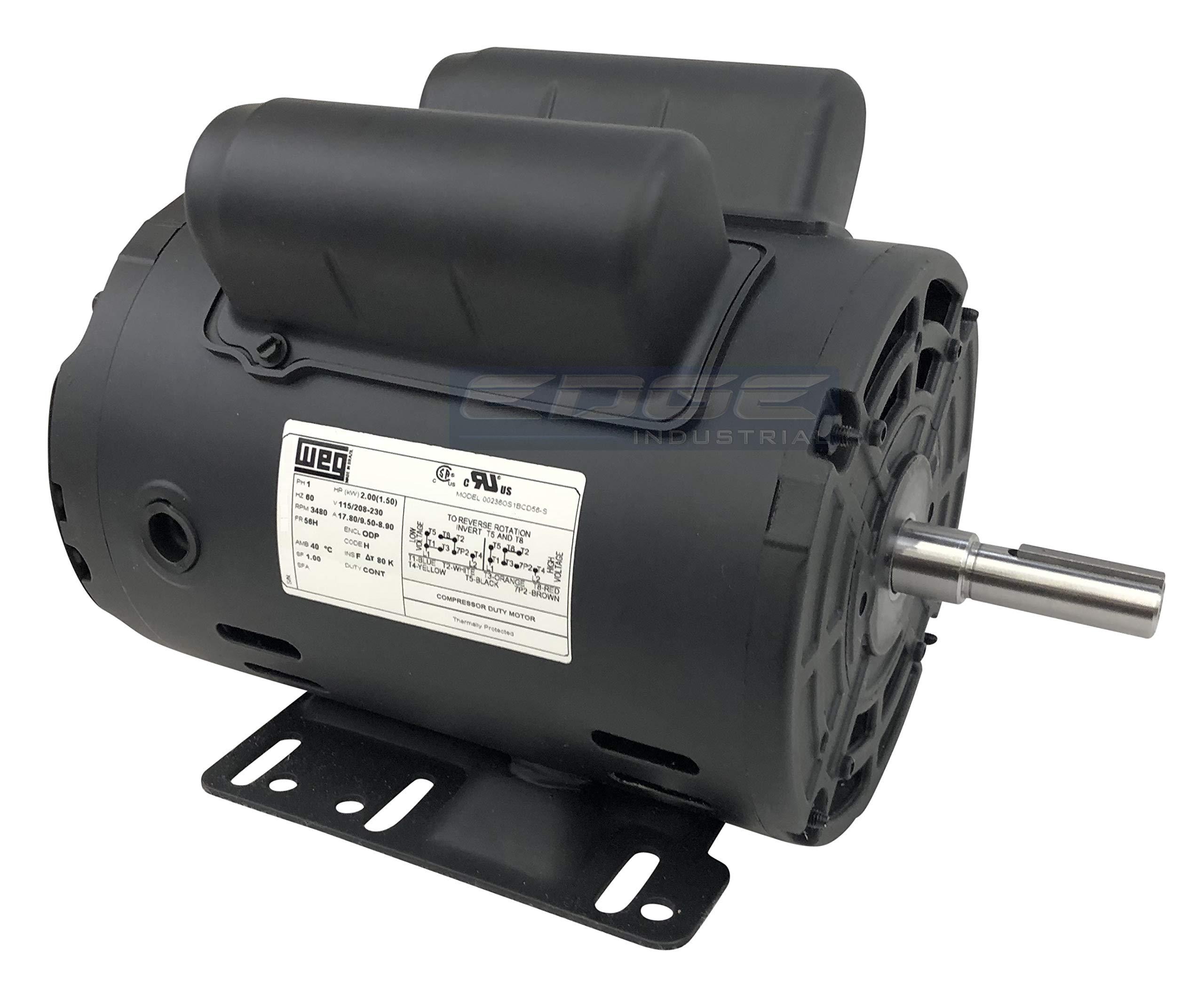 WEG 00236OS1BCDD56 ODP Compressor Duty Definite Purpose Electric Motor, 2 HP, Single-Phase, 3440 RPM, 115/208-230 V, 60 Hz, Frame D56