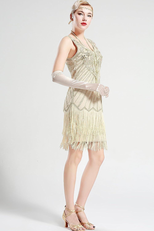 ArtiDeco Años 20 Estilo Vintaje Vestido con Cuello en V Gatsby Disfraz Vestido con Flecos de Lentejuelas: Amazon.es: Ropa y accesorios