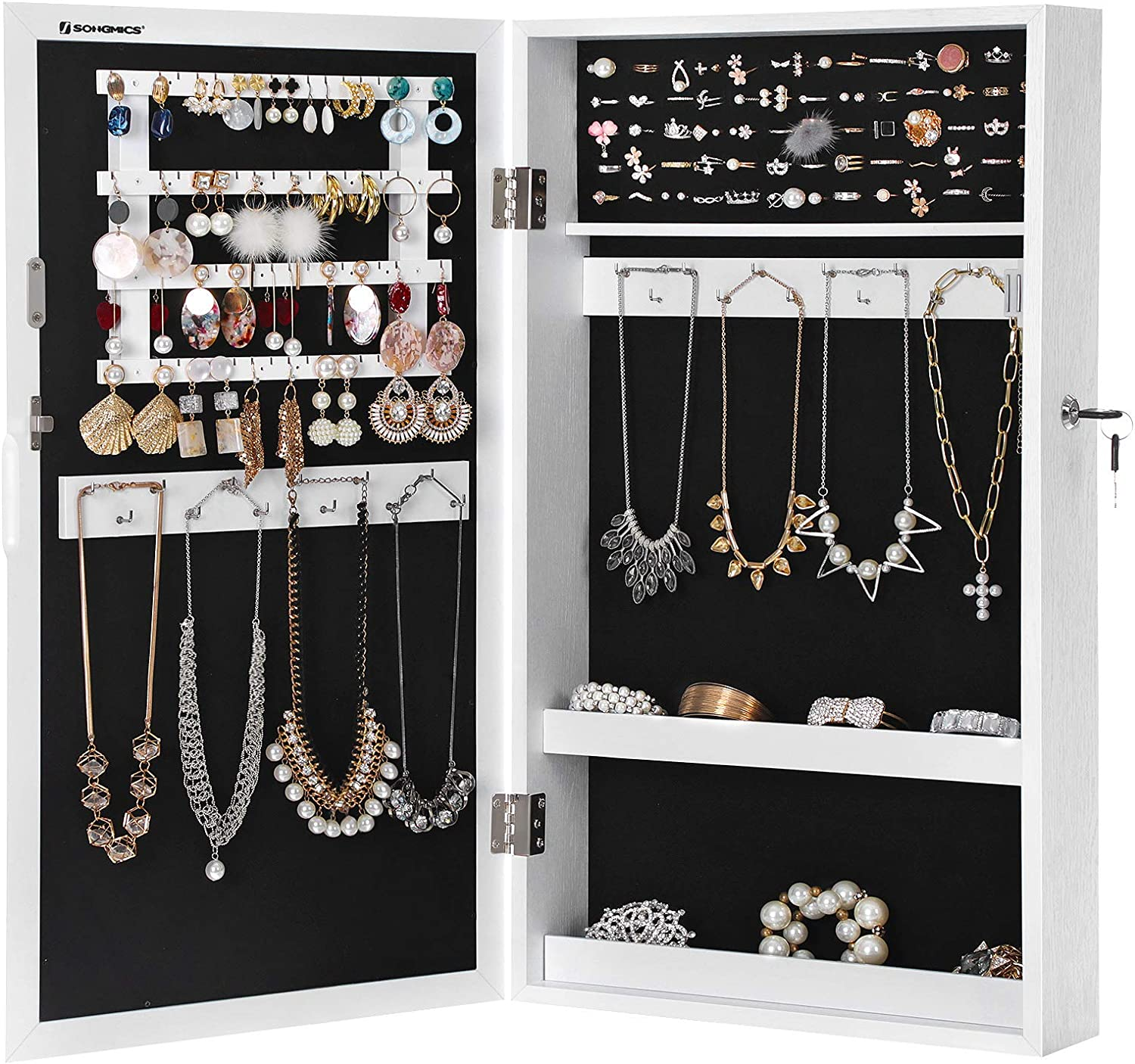 ockable Jewelry Cabinet Armoire with Mirror, Wall-Mounted Space Saving Jewelry Storage Organizer