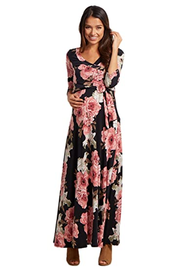 3348893693f PinkBlush Maternity Floral Sash Tie Maternity Nursing Maxi Dress at ...