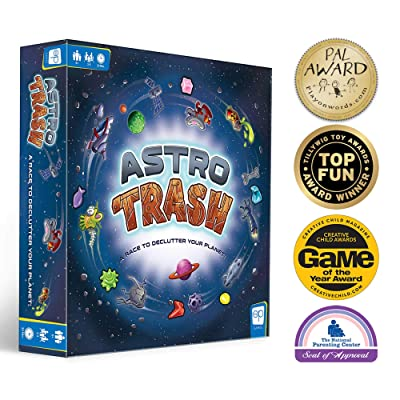 USAOPOLY Astro Trash Family Board Game | Fast Paced Family Dice Board Game | Be The First to Rid Your Planets of Cosmic Trash in This Fast Paced Family Fun Board Game to Win!: Toys & Games
