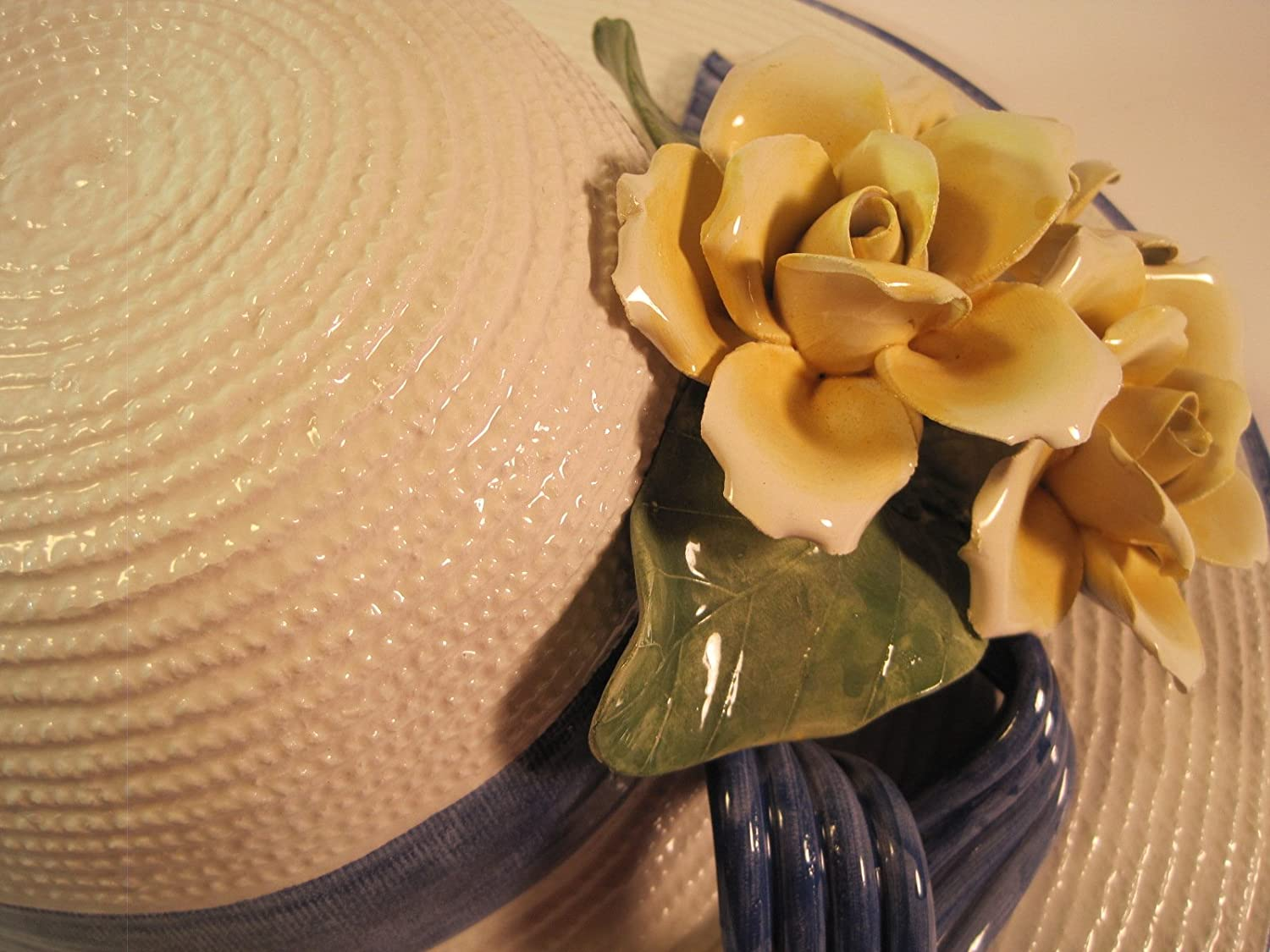 Amazon.com: Seymour Mann & Capodimonte Ceramic Straw Hat with ...