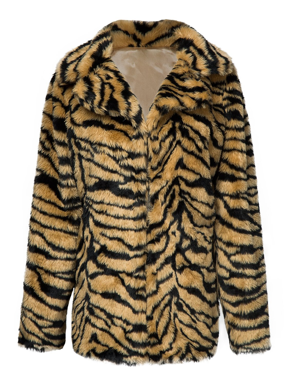 Choies Women's White Tiger Lapel Faux Fur Jacket Winter Fur Coat M