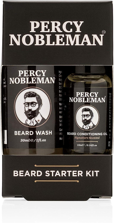 Percy Nobleman Kit de cuidado fácil de la barba – Estuche con aceite y champú limpiador para la barba, compuestos de un 99 % de ingredientes naturales: Amazon.es: Salud y cuidado personal