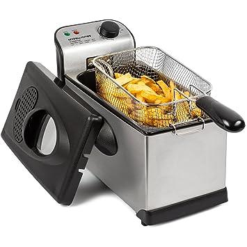 Andrew James – 3L acero inoxidable freidora/frittiergerät – Fácil de Limpiar – Incluye Recetas