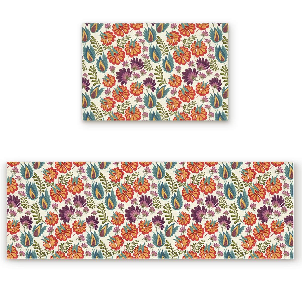 23.6\ SODIKA 2 Pieces Kitchen Rug Set,Non-Skid Slip Washable Doormat Floor Runner Bathroom Area Rug Carpet,Paisley Pattern (23.6x35.4in+23.6x70.9 inches)