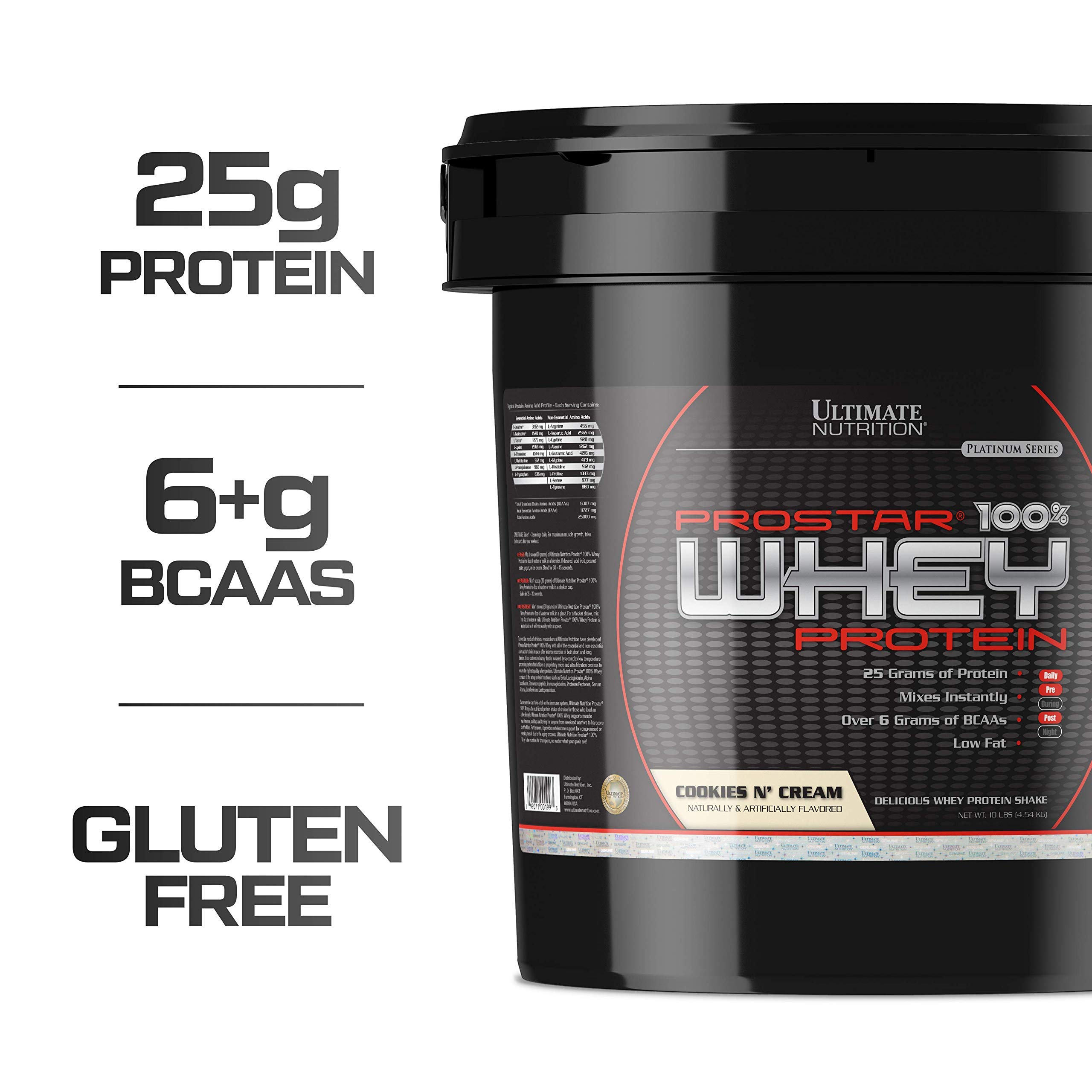 Ultimate Nutrition Prostar Whey Protein Powder Blend of Whey Concentrate Isolate and Peptides - Low Carb, Keto Friendly, 25 Grams of Protein - 150 Servings, Cookies N Cream, 10 Pounds by Ultimate Nutrition