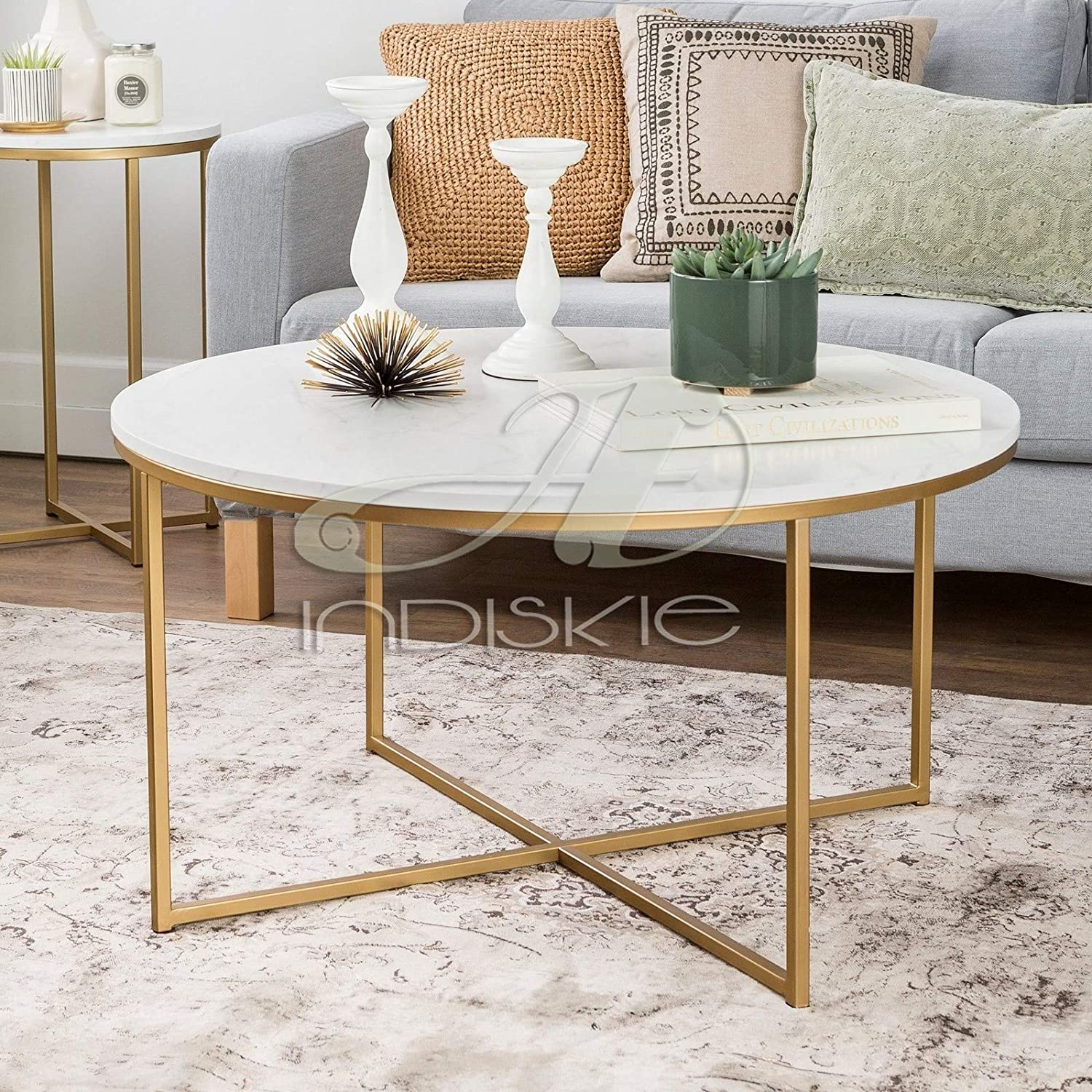 - Indiskie 90 Cm Round Marble Top Coffee Table With Gold Metal X