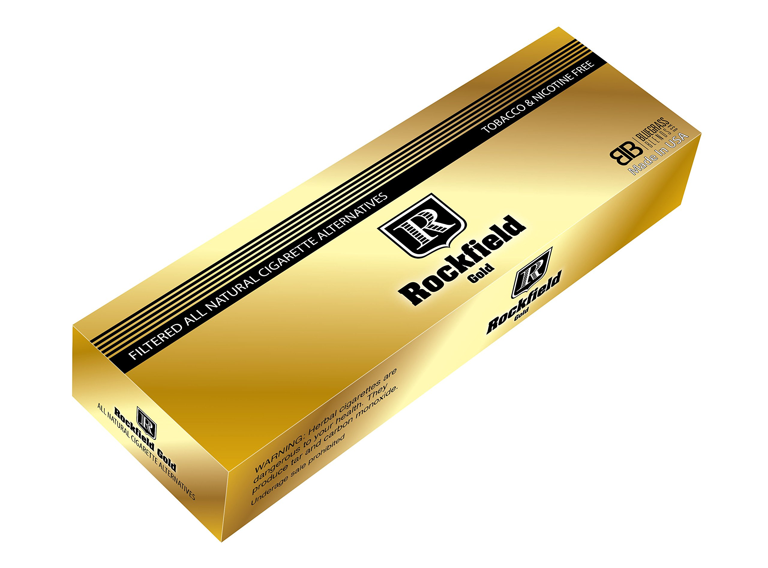 Rockfield ''Gold 100's'' - Carton - Tobacco Free - Nicotine Free - Nitrosamine Free - Herbal - Cigarette Alternative by Rockfield Gold 100's
