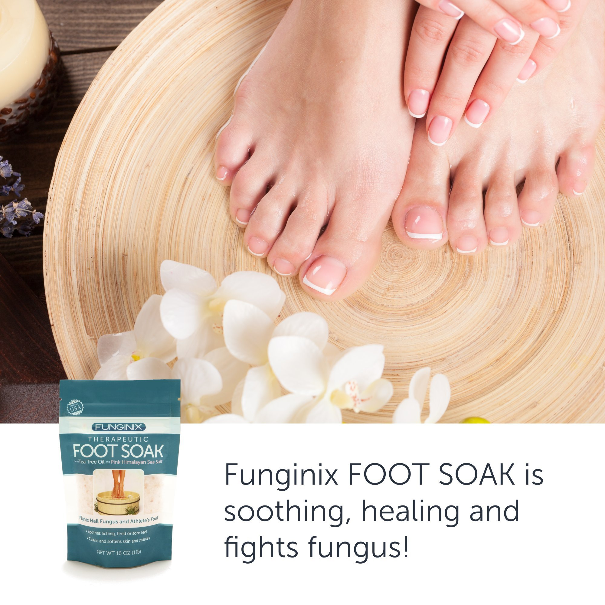 Funginix Premium Anti Fungal Foot Soak Nail Fungus Treatment with Tea Tree Oil, Himalayan Sea Salt, and Essential Oils - Treats Toenail Fungus, Athletes Foot, and Foot Odor - Foot Care for Sore Feet by Funginix (Image #3)