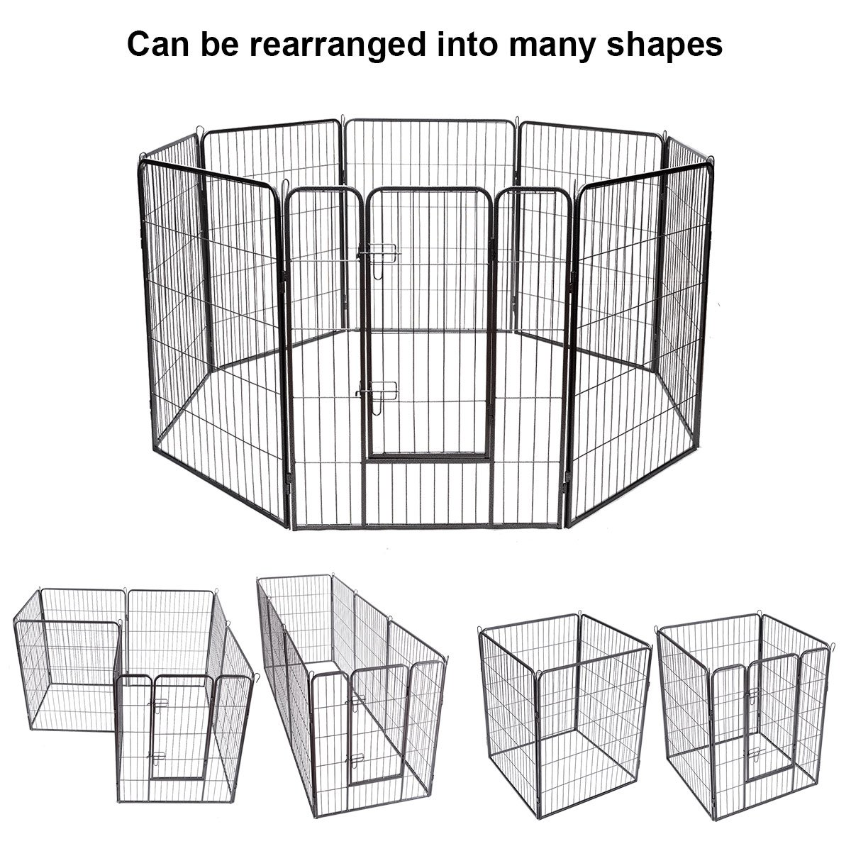 GYMAX Pet Playpen 8 Panel Metal Folding Dog Fence Puppy Cat Rabbit Pets Run Cage Indoor Outdoor Kennel Enclosure Flat Package with Rounded Safe Edges